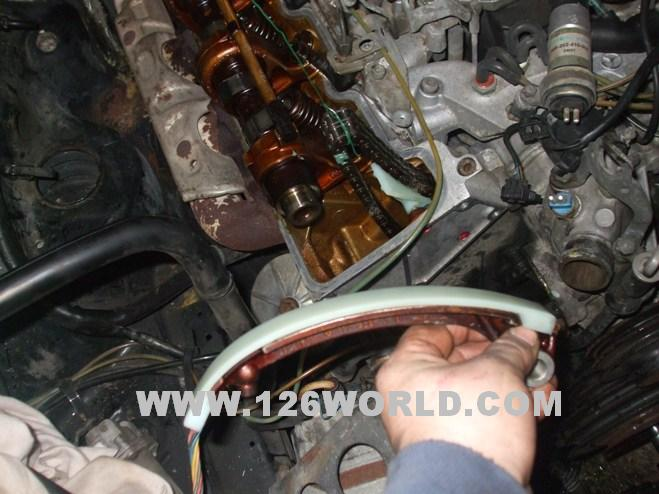 Service manual remove tensioner on a timing cover 2009 for Mercedes benz timing belt